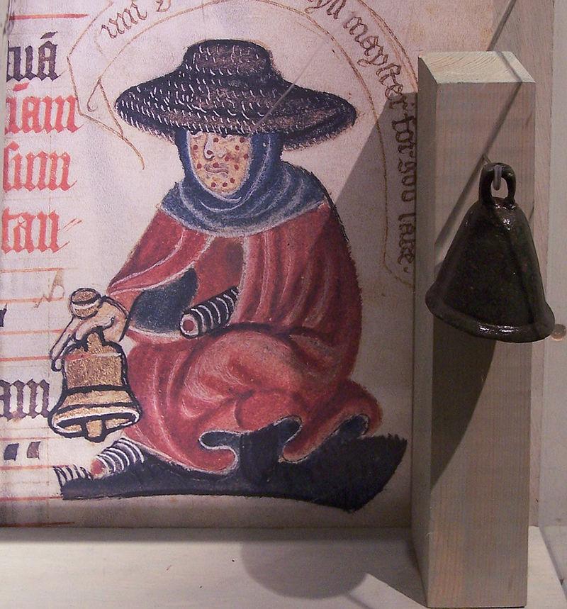 Sino utilizado por um indivíduo com a doença durante a Idade Média