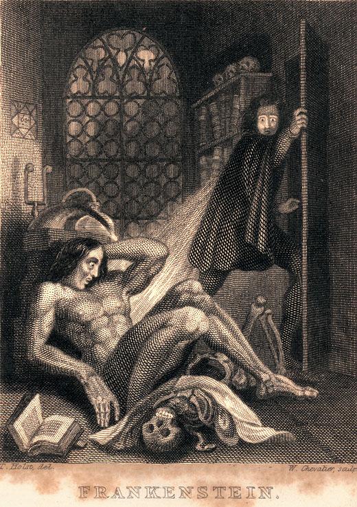 """Capa de 1831 do livro """"Frankenstein: ou o Moderno Prometeu"""", de Mary Shelley"""