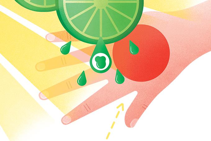Por que o limão mancha a pele