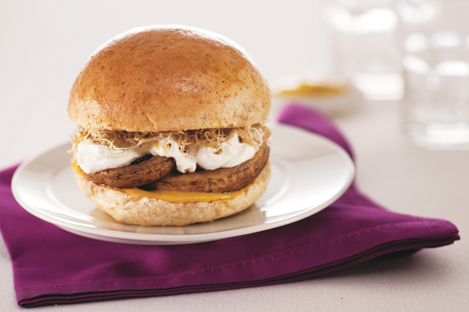 Receita de Hambúrguer de cogumelo e queijo cottage