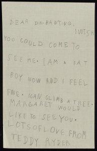 A carta escrita por Theodore Rider para o médico Frederick Banting