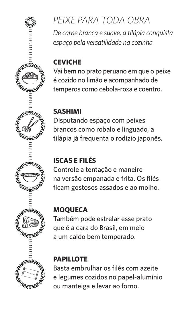 dicas tilápia alimentação comida ceviche sashimi moqueca