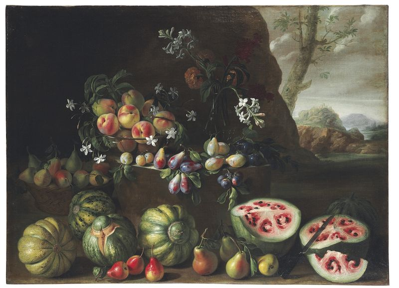 Giovanni_Stanchi,_Watermelons,_Peaches,_Pears,_and_Other_Fruit_in_a_Landscape