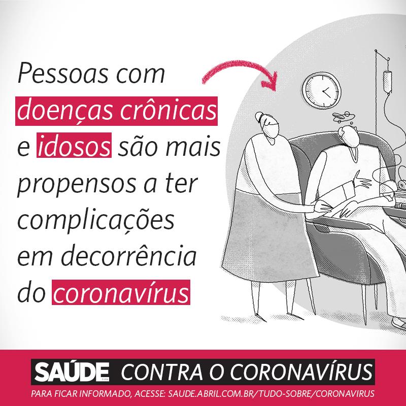 Pessoas com doenças crônicas e idosos são mais propensos a ter complicações em decorrência do coronavírus