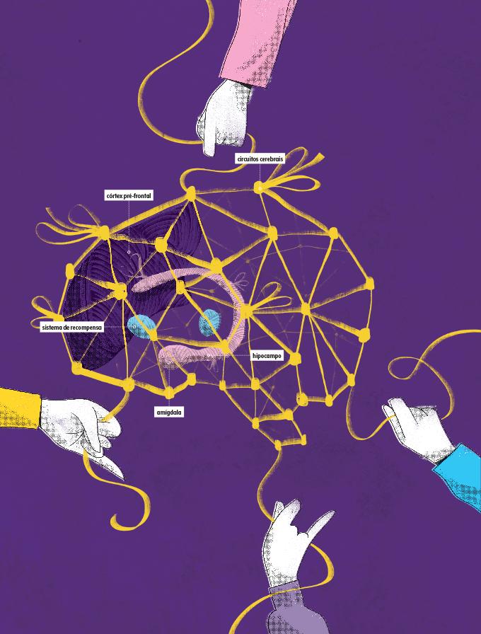 cérebro desenhado com mãos ao redor