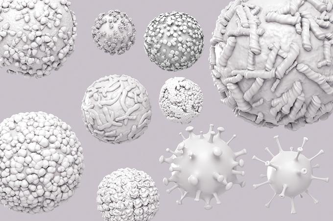 ilustração de vários coronavírus em fundo cinza
