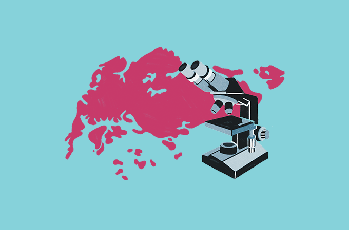 ilustração de mapa de singapura com um microscópio em cima