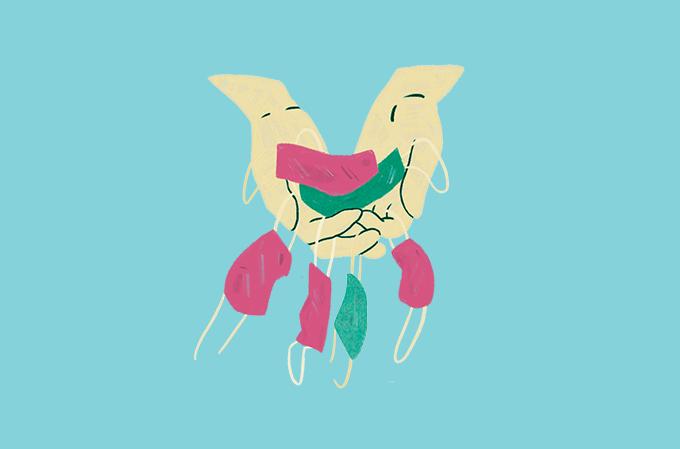 ilustração de várias máscaras contra covid