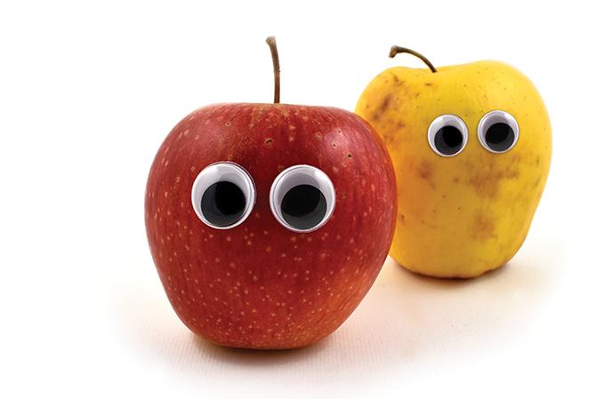 uma maçã e uma pera