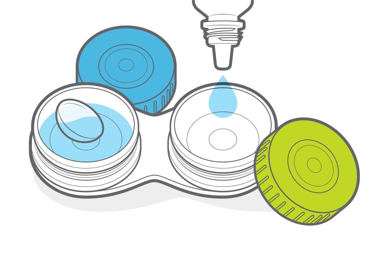 Desenho de caixa de lente de contato