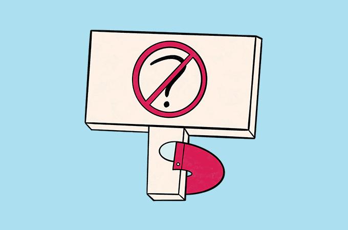 ilustração de tela de computador com ponto de interrogação ao centro