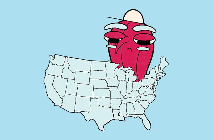 ilustração de mapa dos EUA com uma caricatura de amendoim por cima