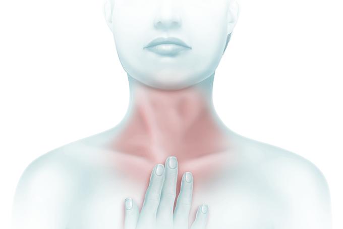 ilustração de mulher com dor de garganta