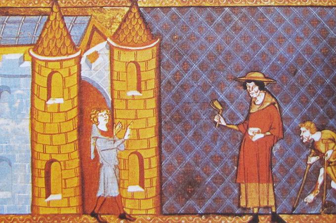 Ilustração do século 14 mostra dois portadores de hanseníase tentando entrar numa cidade.