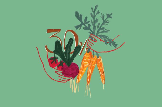 ilustração de legumes orgânicos com o número 30 estampado ao meio