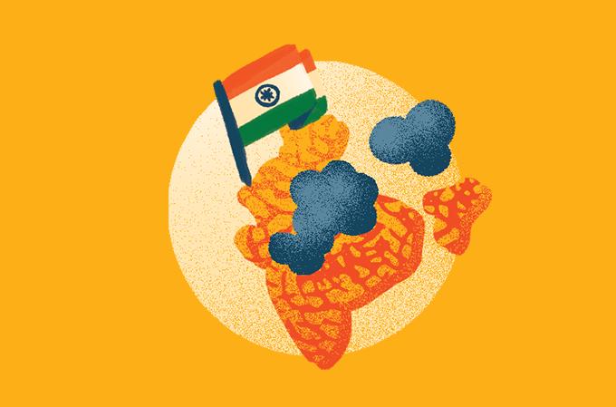 ilustração de mapa da índia com um fungo em cima
