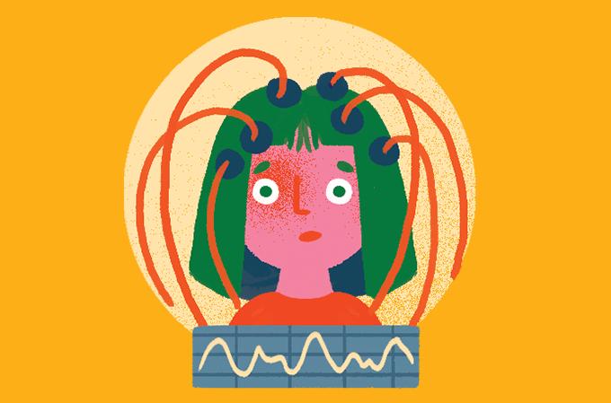 ilustração de mulher com eletrodos e fios na cabeça