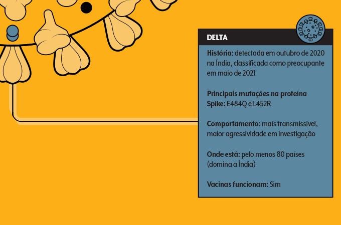 Quadro de informações sobre variante delta do Sars-Cov-2