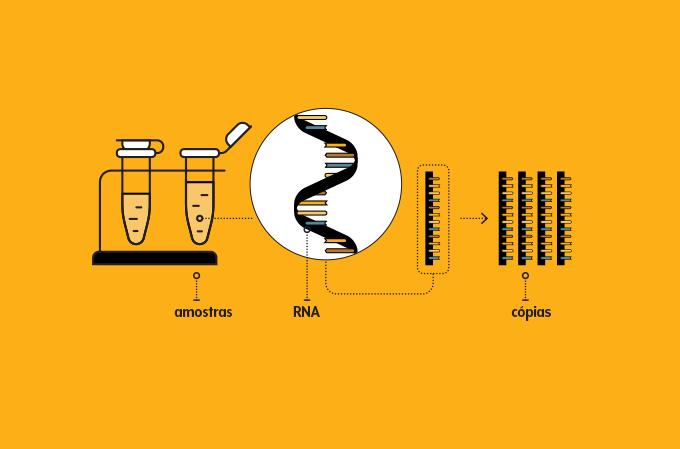 ilustração de tubos de ensaio contendo amostras do vírus e do seu material genético amplificado