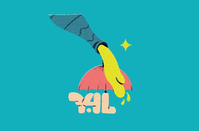 ilustração de bebida caindo num guarda-chuva