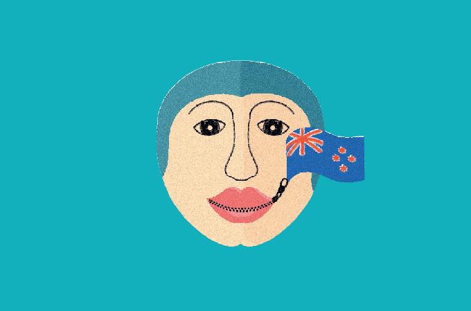ilustração de mulher com um zíper na boca e bandeira da nova zelândia
