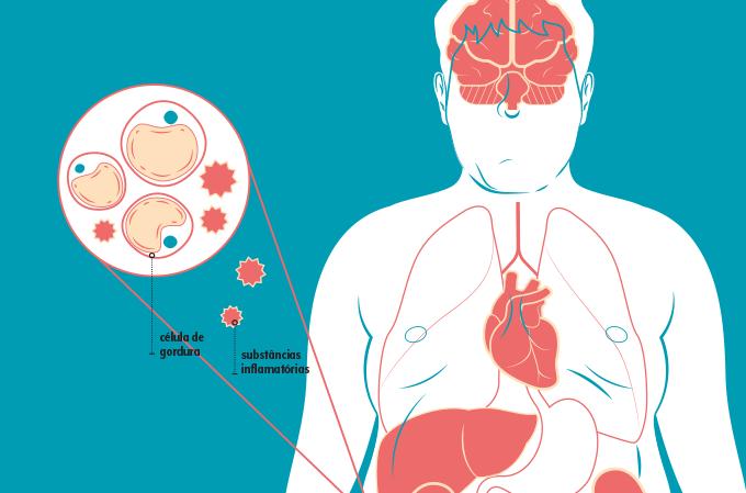 ilustração de moléculas gordurosas e inflamatórias pelo organismo
